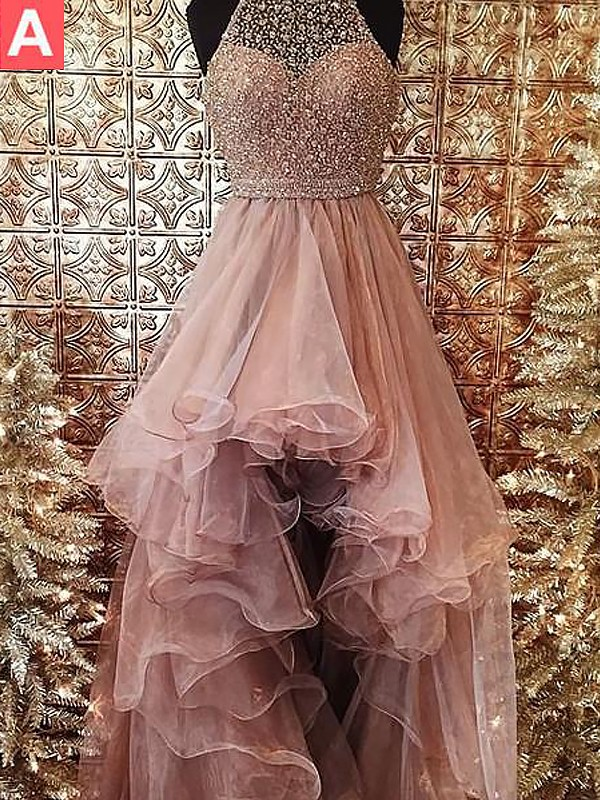 Stylish Ball Gown Halter Sleeveless Asymmetrical Tulle Dress