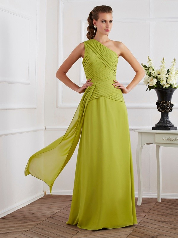 Chic A-Line One-Shoulder Sleeveless Long Chiffon Dress