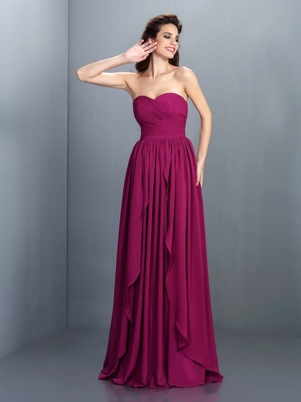 Charming A-Line Sweetheart Sleeveless Long Chiffon Dress