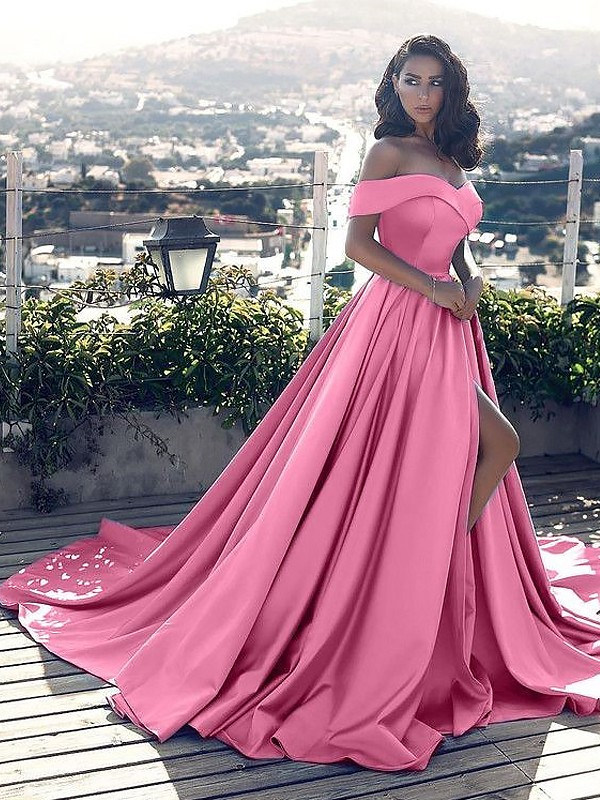 Fashion A-Line Sleeveless Off-the-Shoulder Satin Court Train Dress