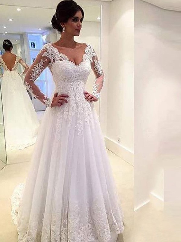 Discount Ball Gown V-neck Long Sleeves Lace Sweep/Brush Train Tulle Wedding Dress