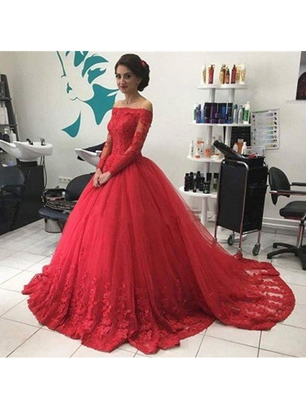 Perfect Ball Gown Off-the-Shoulder Long Sleeves Lace Tulle Court Train Dress