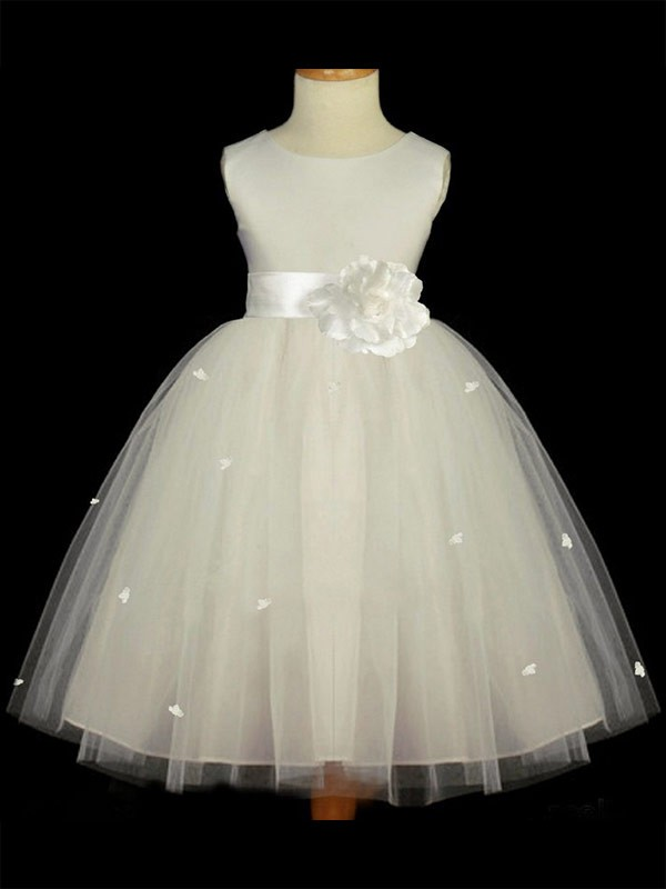 Beautiful A-line Scoop Sleeveless Hand-made Flower Ankle-length Tulle Flower Girl Dress