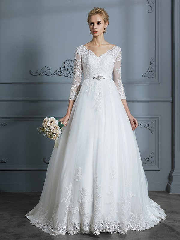 Unique Ball Gown V Neck 3 4 Sleeves Court Train Lace Tulle Wedding Dress