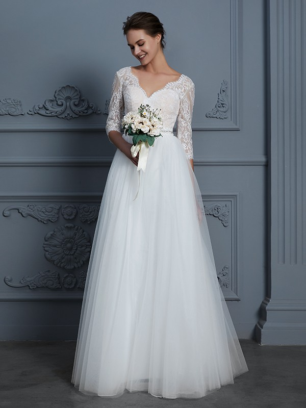 Gorgeous A Line V Neck 34 Sleeves Floor Length Lace Tulle Wedding Dress