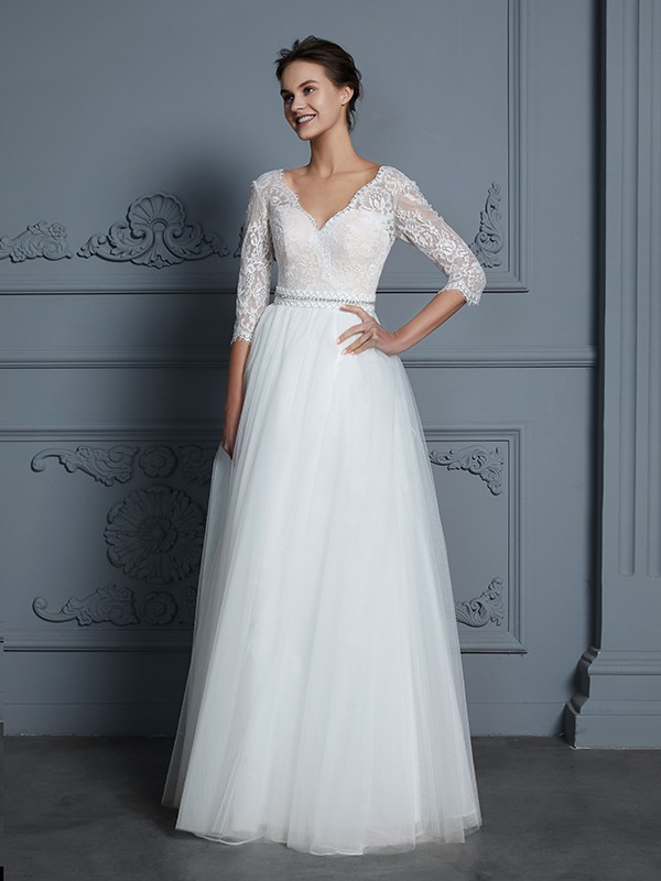 Gorgeous A Line V Neck 3 4 Sleeves Floor Length Lace Tulle Wedding Dress