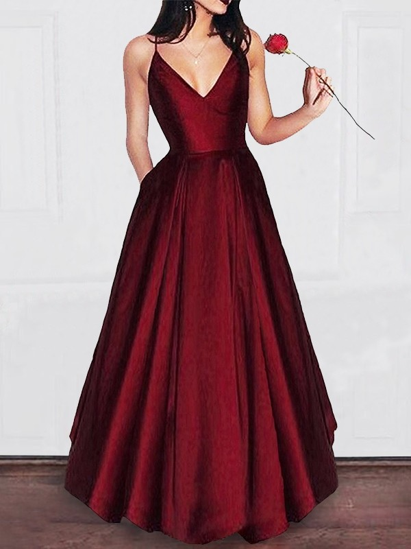 Gorgeous A-Line V-neck Floor-Length Satin