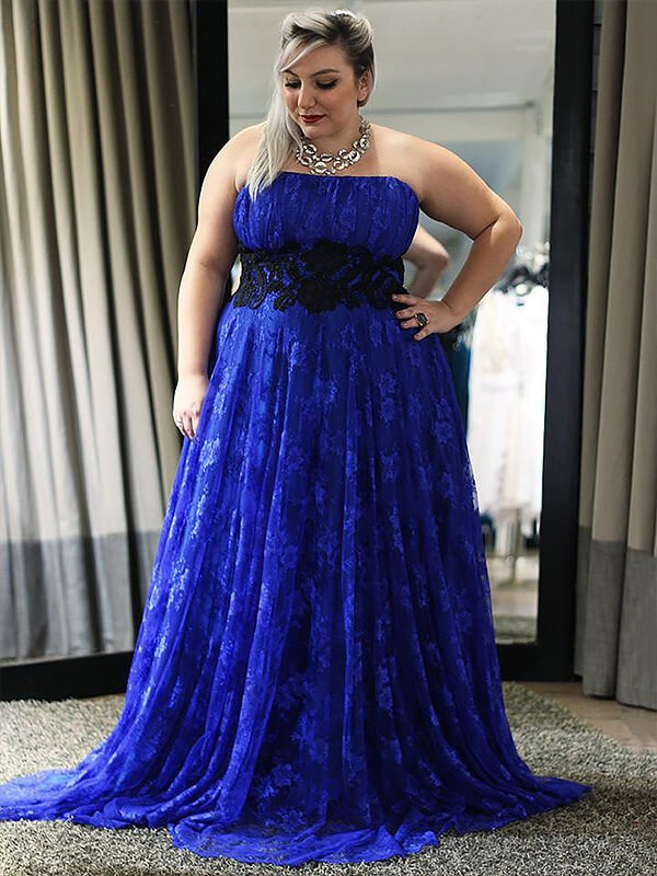 Best A-Line Sleeveless Strapless Lace Floor-Length Plus Size ...
