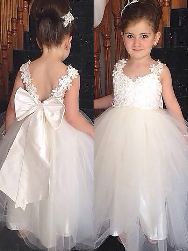 best quality superior quality new appearance Chic Ball Gown Sweetheart Sleeveless Floor-Length Tulle Flower Girl Dress