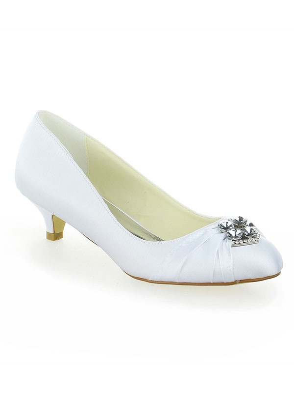 exclusive deals hot product where to buy Classical Women Satin Lace Platform Closed Toe Kitten Heel White Wedding  Shoes