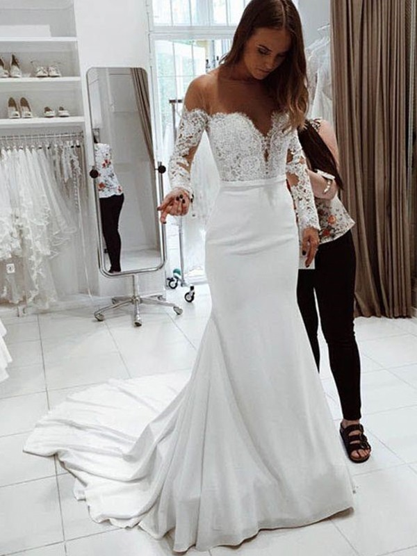Shoulder Long Sleeves Court Train Lace