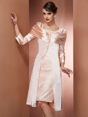 Fashion Sheath Square Sleeveless Short Elastic Woven Satin Mother of the Bride Dress