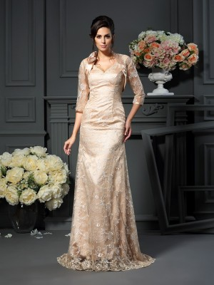 Fashion A-Line V-neck Lace Sleeveless Long Elastic Woven Satin Mother of the Bride Dress