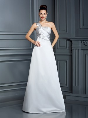 Charming A-Line One-Shoulder Sleeveless Long Satin Dress