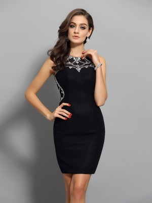Charming Sheath Scoop Sleeveless Short Chiffon Cocktail Dress