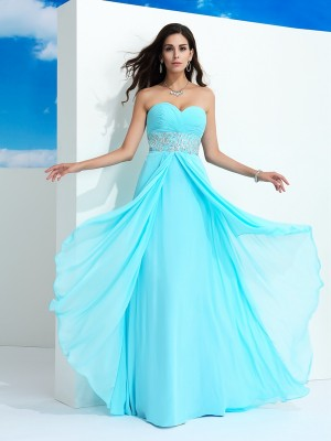 Nice A-Line Sweetheart Sleeveless Long Chiffon Dress