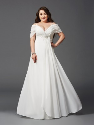 Glamorous A-Line Off-the-Shoulder Short Sleeves Long Chiffon Plus Size Dress