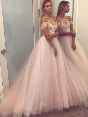 Fashion A-Line Sleeveless Off-the-Shoulder Tulle Sweep/Brush Train Dress