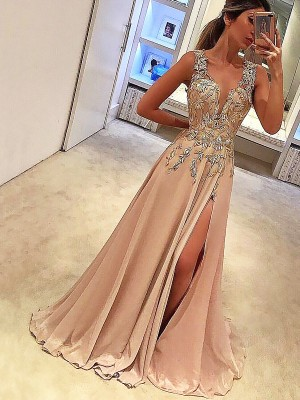 Gorgeous A-Line V-neck Sleeveless Floor-Length Silk like Satin Dress