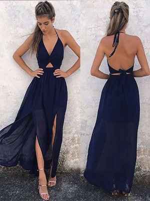 Gorgeous A-Line V-neck Sleeveless Floor-Length Chiffon Dress