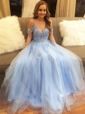 Gorgeous A-Line Off-the-Shoulder Floor-Length Tulle Sleeveless Dress