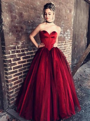 Unique Ball Gown Sweetheart Sleeveless Floor-Length Tulle Dress