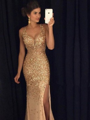 Stunning Sheath V-neck Sequin Court Train Sleeveless Jersey Dress