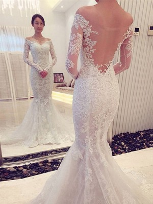 Affordable Mermaid Off-the-Shoulder Long Sleeves Lace Sweep/Brush Train Wedding Dress