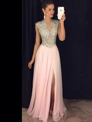 Perfect A-Line Sleeveless Bateau Chiffon Sequin Floor-Length Dress