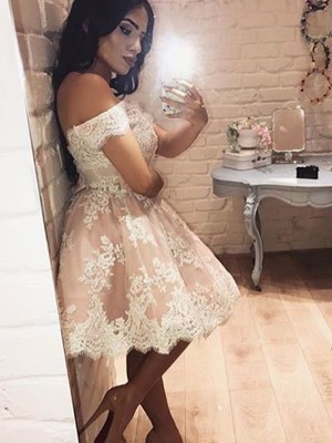 Discount A-Line Sleeveless Off-the-Shoulder Lace Short/Mini Dress