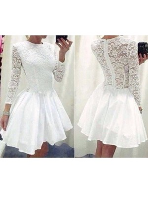 Discount A-Line Long Sleeves Scoop Lace Chiffon Short/Mini Dress