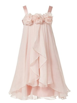 Chic A-Line Sleeveless Straps Chiffon Tea-Length Flower Girl Dress