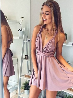 Stylish A-Line V-neck Sleeveless Short/Mini Silk like Satin Dress