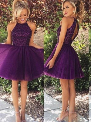 Discount A-Line Halter Sleeveless Short/Mini Tulle Dress
