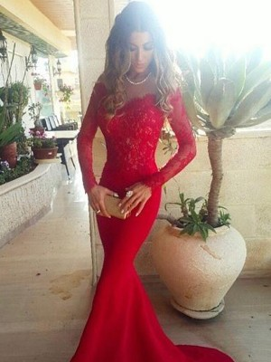 Stunning Mermaid Off-the-Shoulder Long Sleeves Lace Sweep/Brush Train Satin Dress