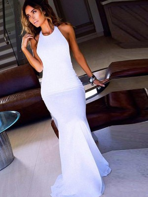 Stunning Sheath Scoop Sleeveless Floor-Length Chiffon Dress