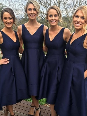 Cheap A-Line V-neck Sleeveless Tea-Length Satin Bridesmaid Dress