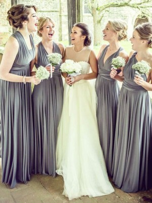 Affordable A-Line Sleeveless Chiffon Floor-Length Bridesmaid Dress