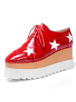 Fashion Women Patent Leather Platform Closed Toe Sneakers Red Sneakers