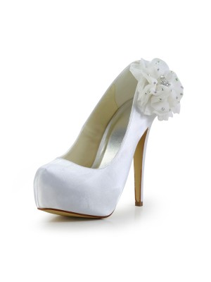 Fashion Women Satin Stiletto Heel Closed Toe Platform White Wedding Shoes