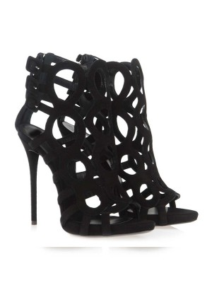 Hot Sale Women Stiletto Heel Suede Peep Toe Sandals Shoes
