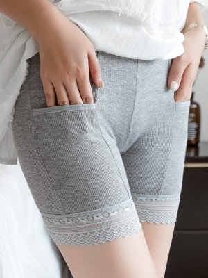 Women Cotton Lace With Pocket Elastic Plus Size Safety Pants Shorts