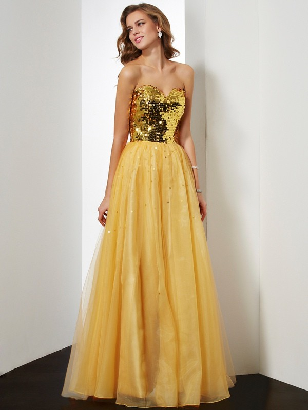 Beautiful Ball Gown Sweetheart Sleeveless Sequin Long Organza Dress
