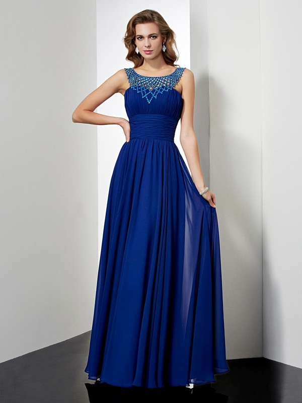Beautiful Empire High Neck Sleeveless Long Chiffon Dress
