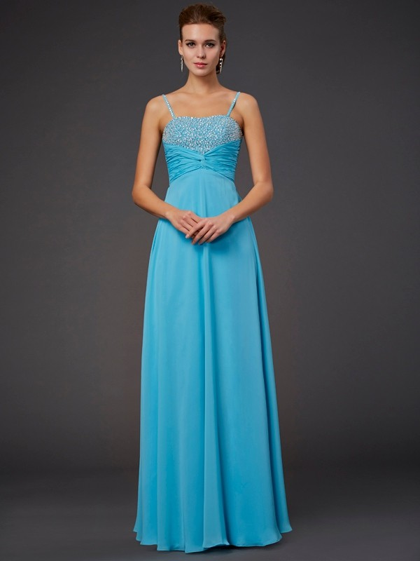 Beautiful A-Line Spaghetti Straps Sleeveless Long Chiffon Dress