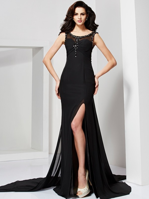 Beautiful Sheath Scoop Sleeveless Long Chiffon Dress