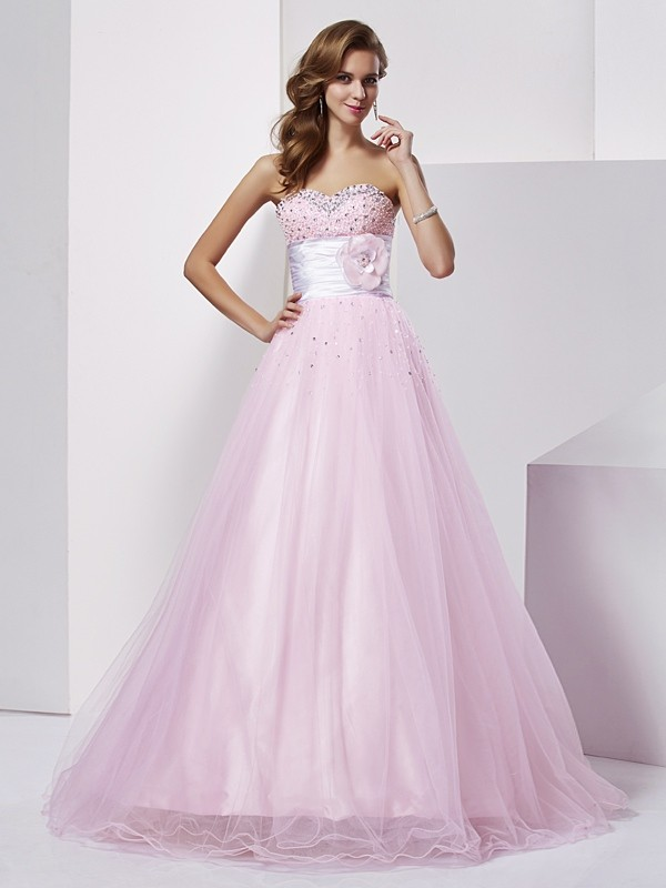 Beautiful Ball Gown Strapless Sleeveless Long Elastic Woven Satin Quinceanera Dress