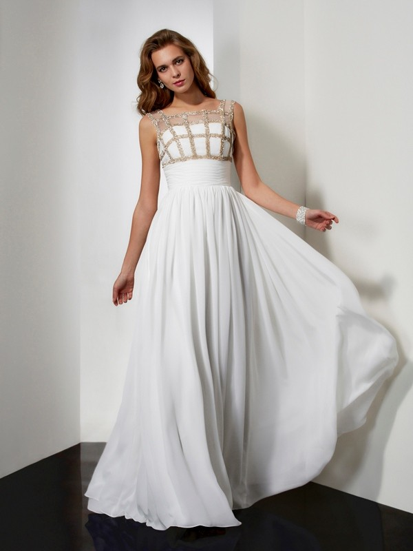 Beautiful A-Line Straps Sleeveless Chiffon Long Dress