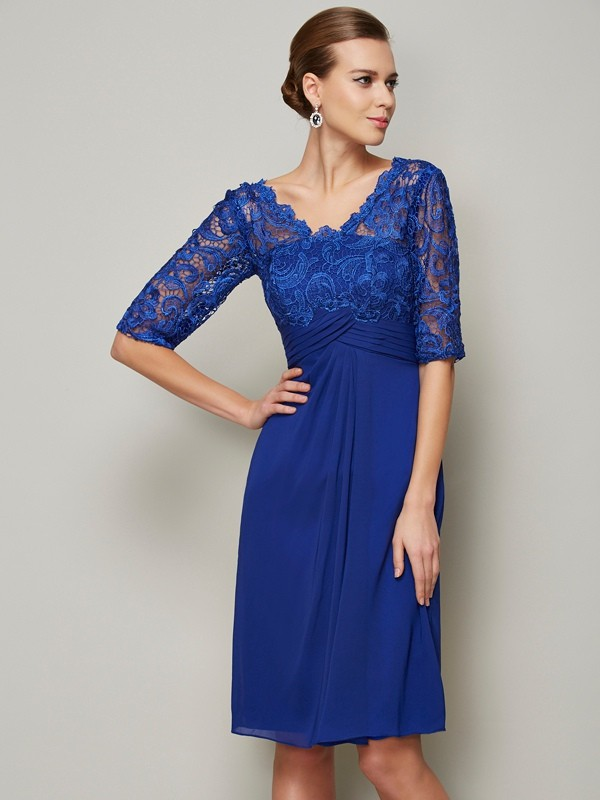 Beautiful Sheath V-neck 1/2 Sleeves Lace Short Chiffon Mother of the Bride Dress