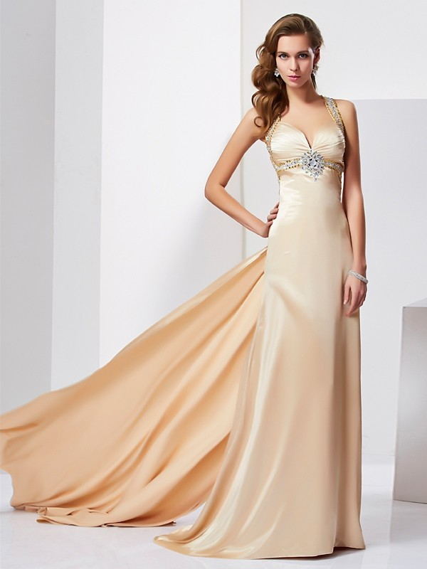 Beautiful Sheath Halter Sleeveless Long Silk like Satin Dress
